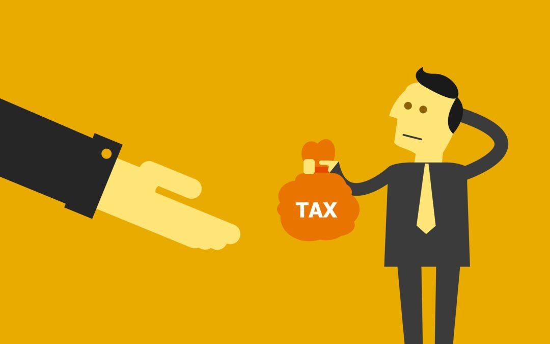 man handing over tax